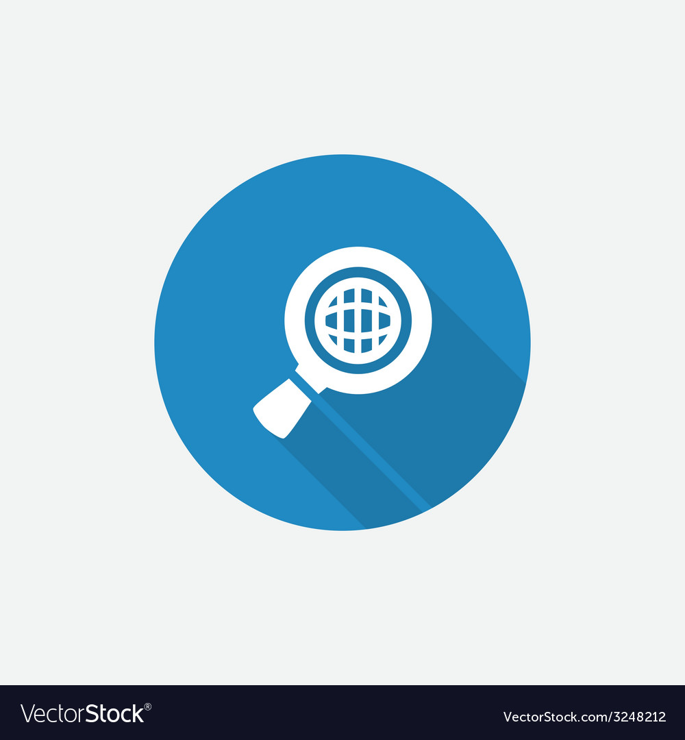 Search globe flat blue simple icon with long vector | Price: 1 Credit (USD $1)