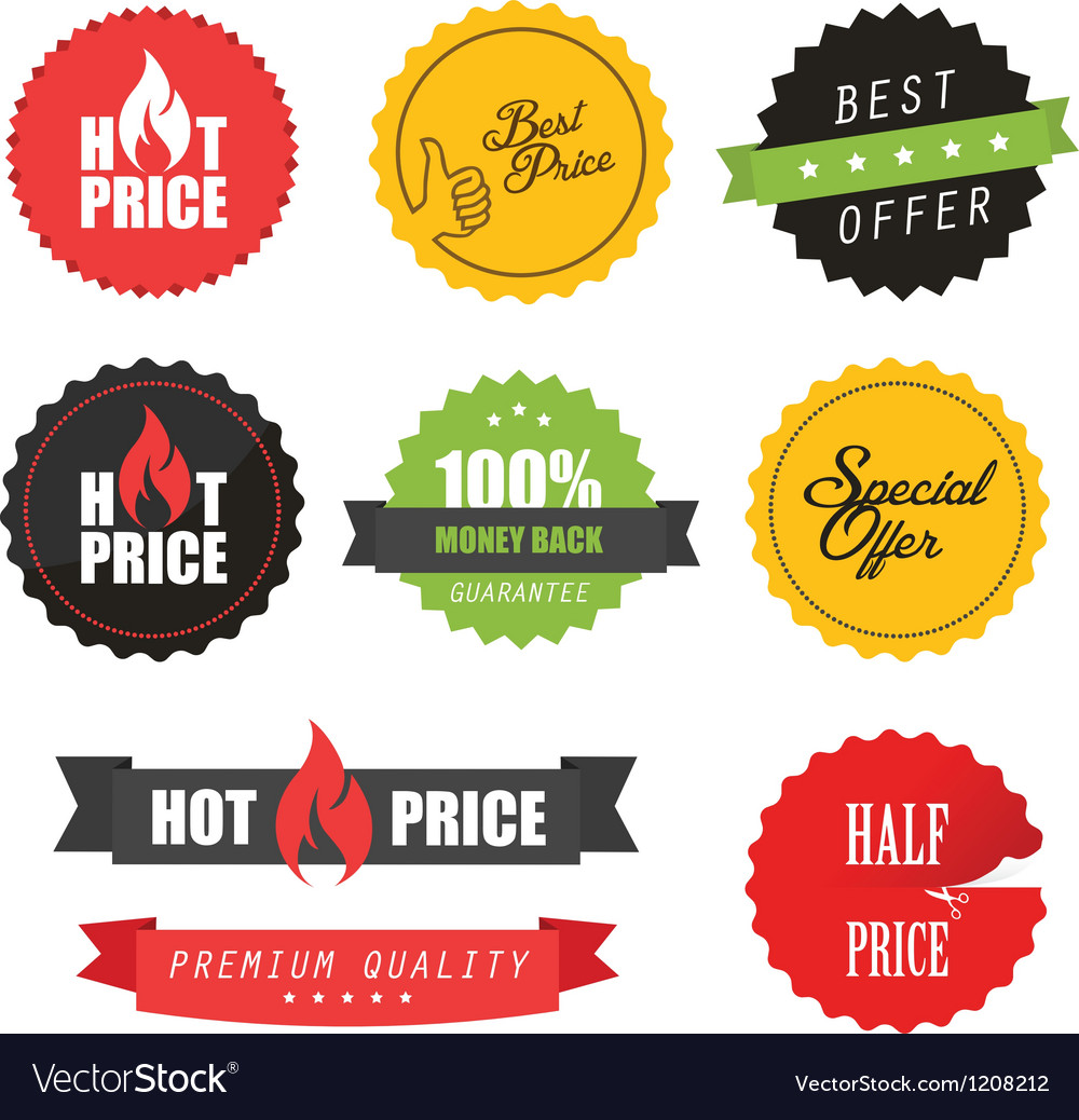 Set of commercial sale stickers and labels vector | Price: 1 Credit (USD $1)