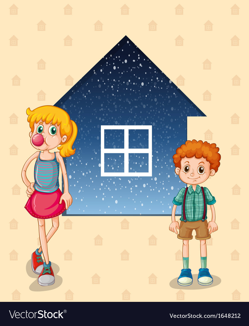 Two siblings in front of the house vector | Price: 1 Credit (USD $1)
