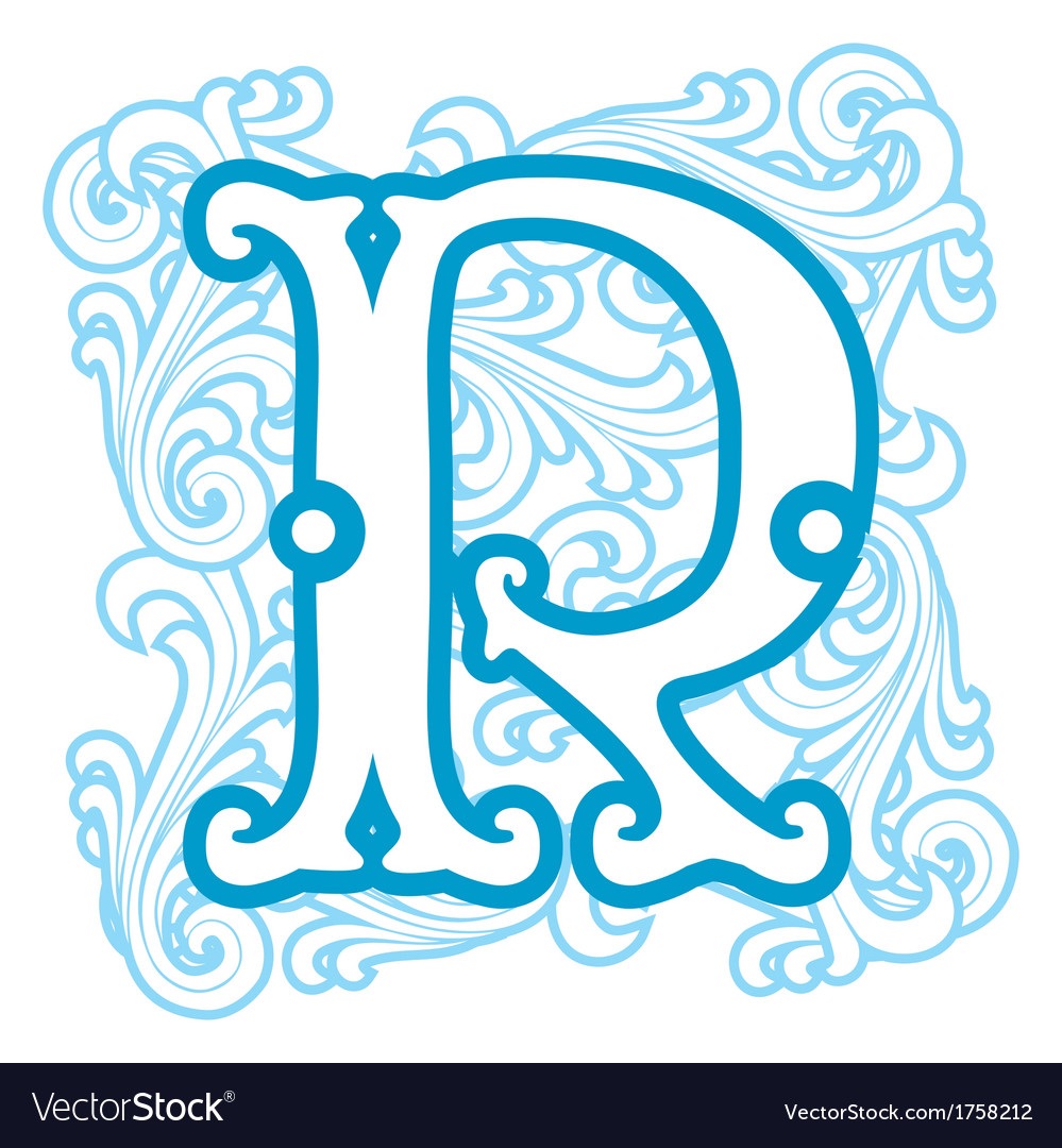 Winter vintage letter r vector | Price: 1 Credit (USD $1)