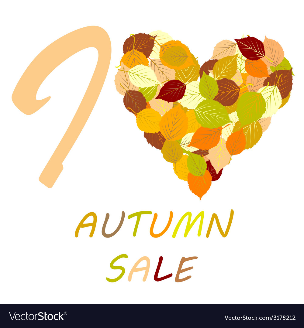With leaves and message i love autumn sale vector | Price: 1 Credit (USD $1)