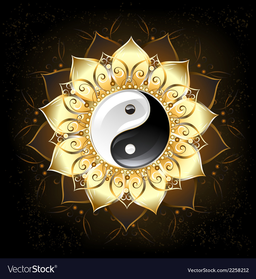 Yin yang golden lotus vector | Price: 1 Credit (USD $1)