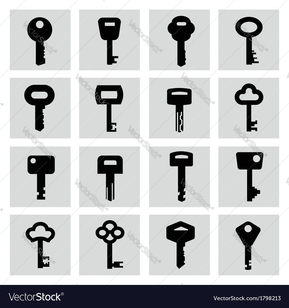 Black key icon set on white vector | Price: 1 Credit (USD $1)