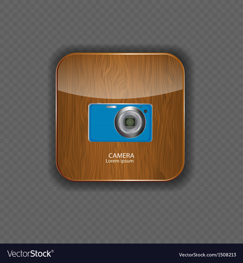 Camera wood application icons vector | Price: 1 Credit (USD $1)