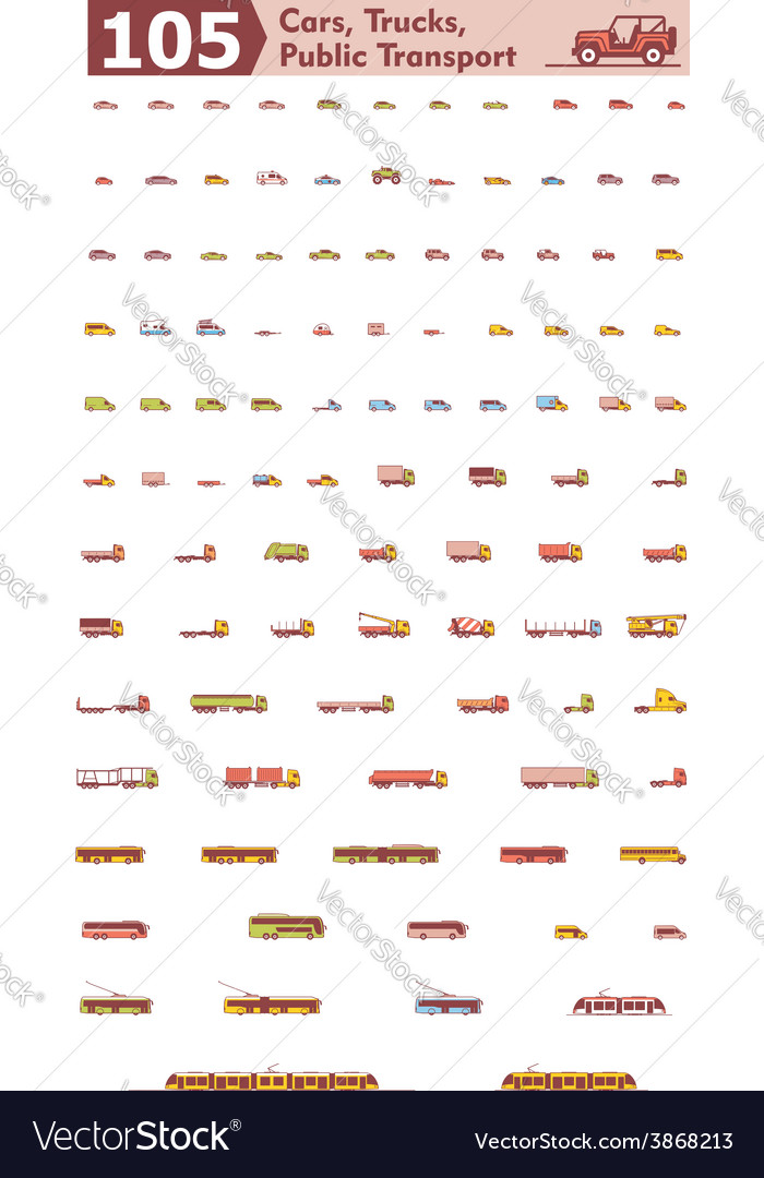 Cars trucks and public transport icons vector | Price: 1 Credit (USD $1)