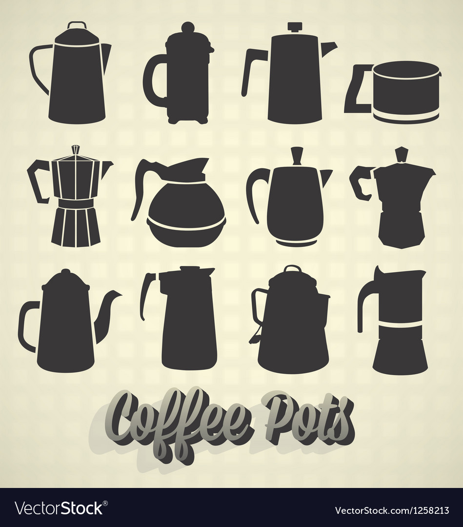 Coffee pot silhouette icons vector | Price: 1 Credit (USD $1)