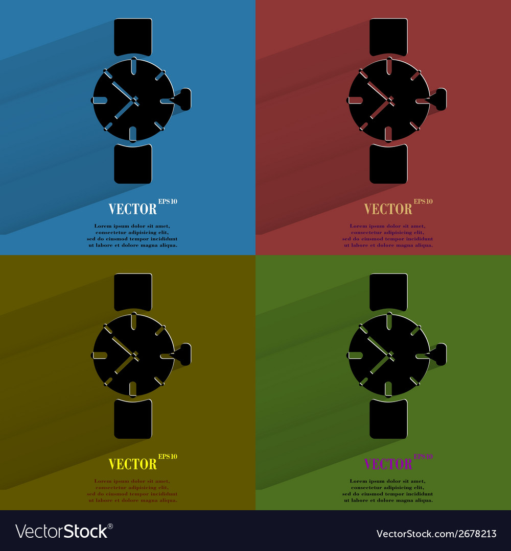 Color set watchclock flat modern web button with vector   Price: 1 Credit (USD $1)