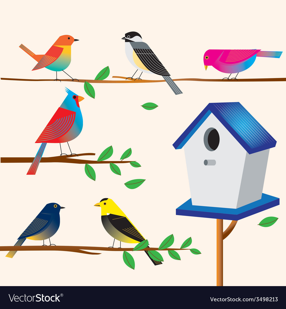 Cute bird set with the house vector | Price: 3 Credit (USD $3)
