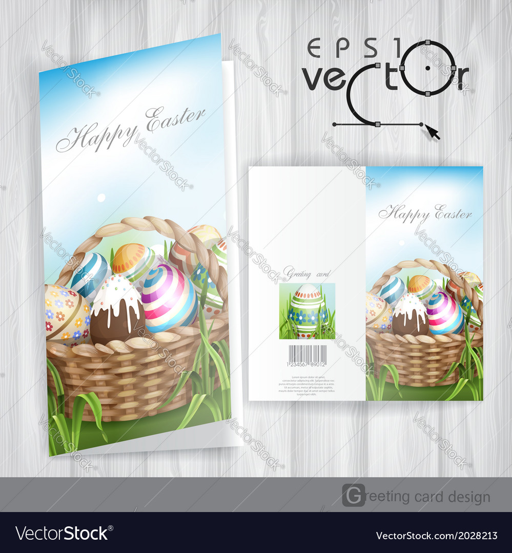 Easter background with a basket vector | Price: 1 Credit (USD $1)