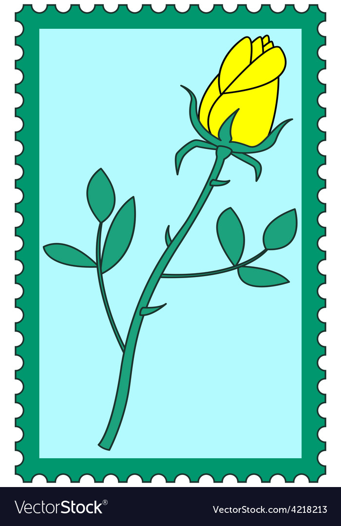 Flower on stamp vector | Price: 1 Credit (USD $1)