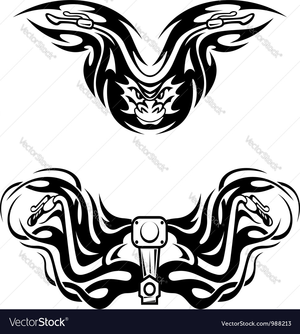 Motorcycles mascots with tribal flames vector | Price: 1 Credit (USD $1)