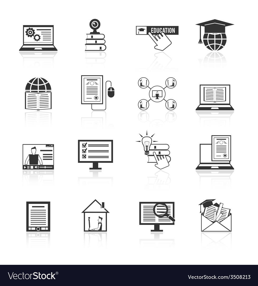 Online education icons black vector | Price: 1 Credit (USD $1)
