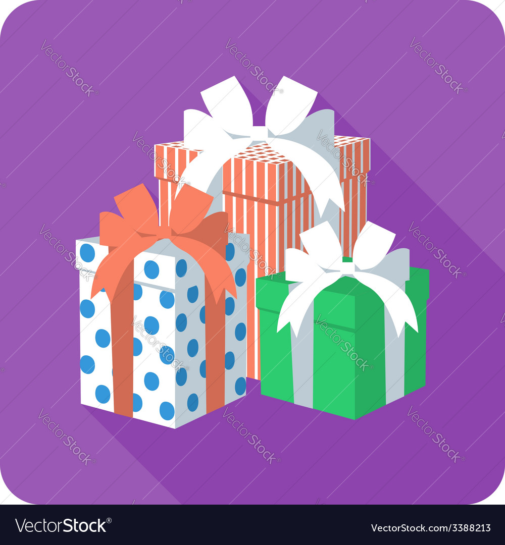 Set colorful gift box with ribbon bow vector | Price: 1 Credit (USD $1)