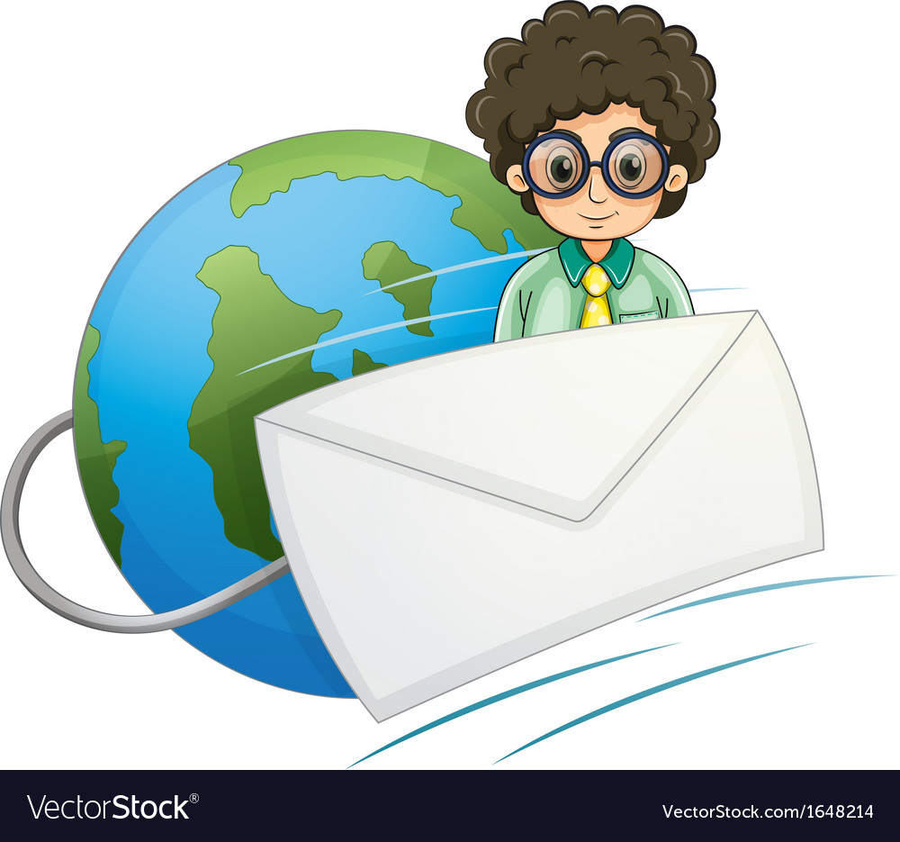 A globe with a curly hair businessman and an vector | Price: 1 Credit (USD $1)