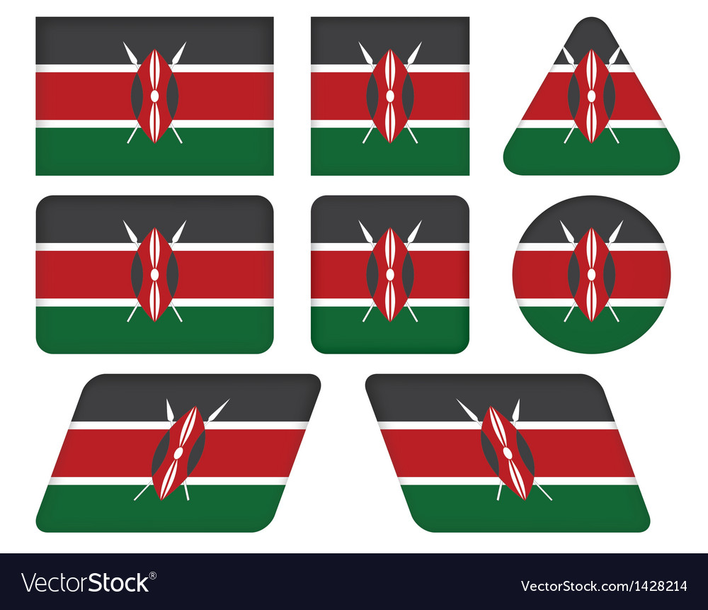 Buttons with flag of kenya vector | Price: 1 Credit (USD $1)