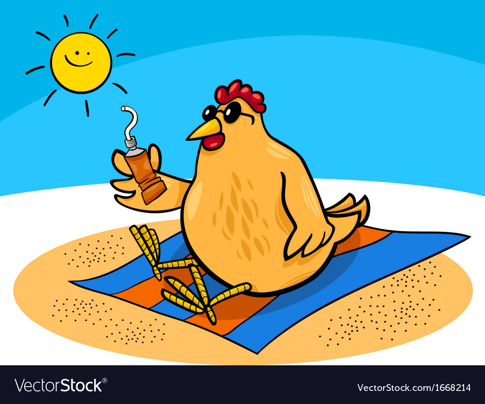 Chicken on the beach cartoon vector   Price: 1 Credit (USD $1)