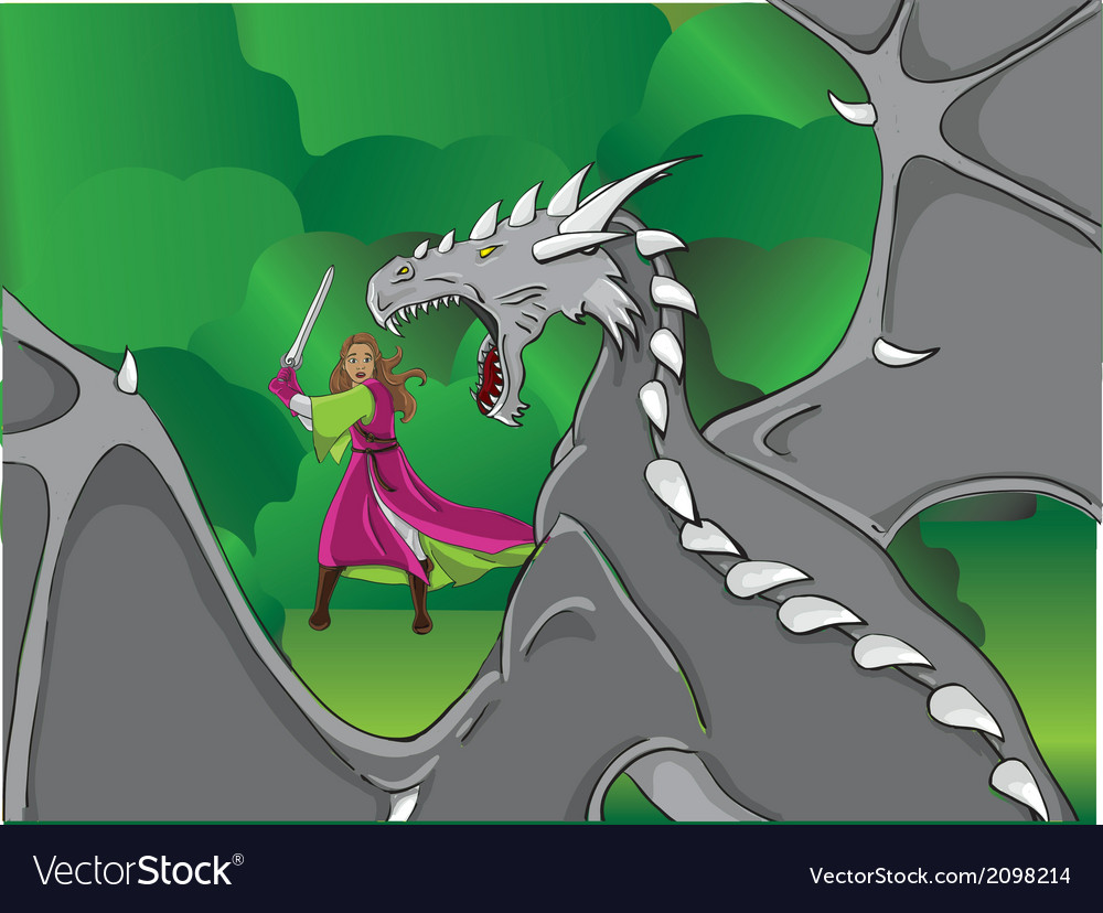 Girl and a dragon vector | Price: 1 Credit (USD $1)
