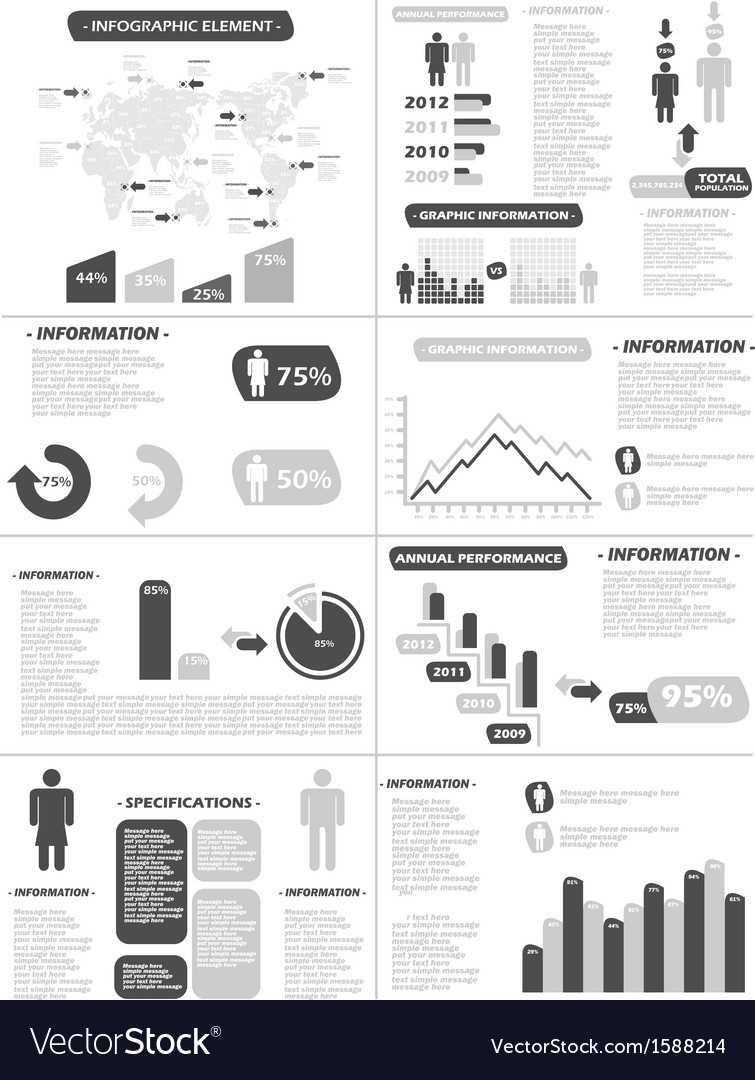 Infographic demographics new style grey vector | Price: 1 Credit (USD $1)