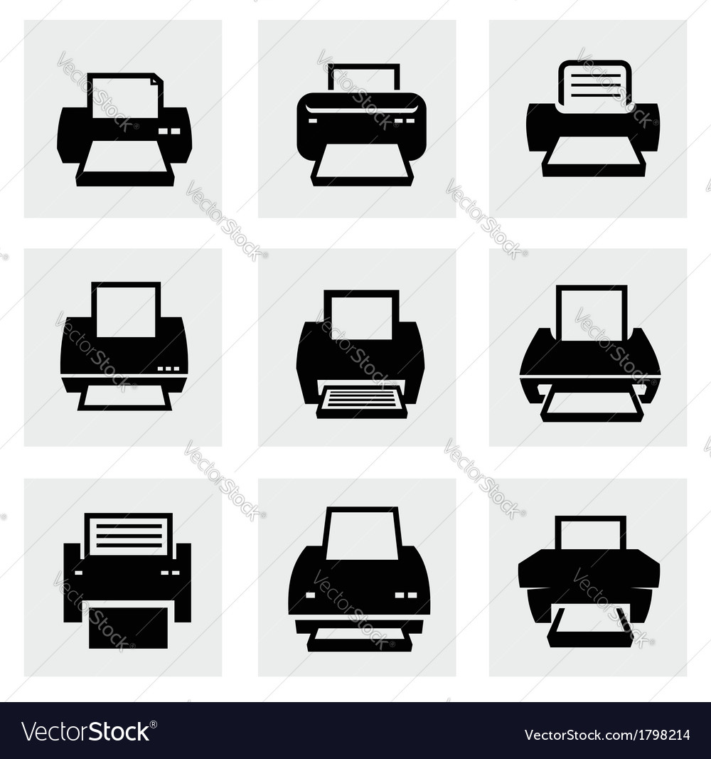 Printer icons vector | Price: 1 Credit (USD $1)