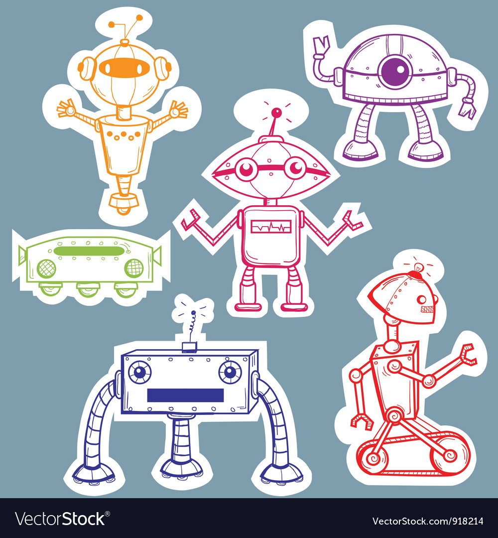 Robot stickers vector | Price: 1 Credit (USD $1)