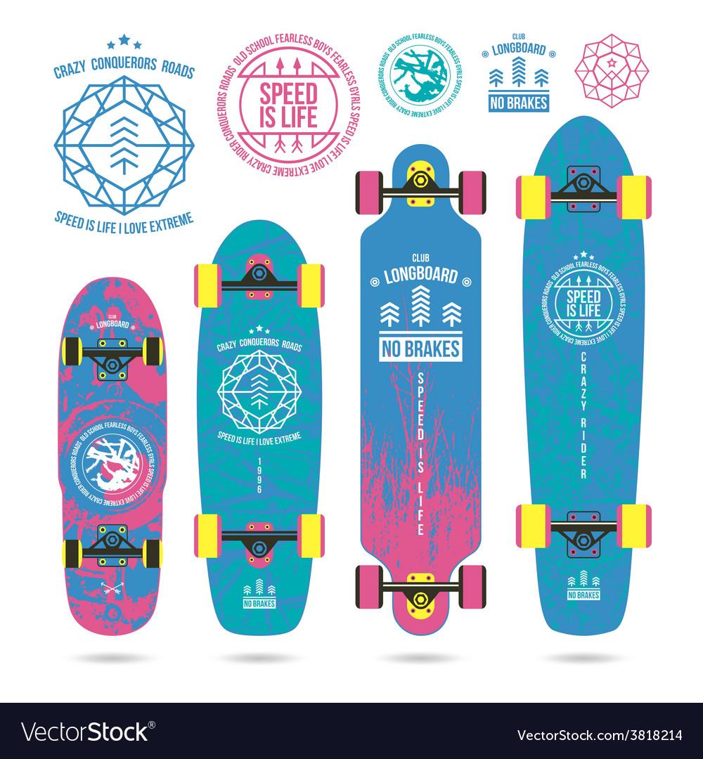 Set of outline emblems on longboard vector | Price: 1 Credit (USD $1)