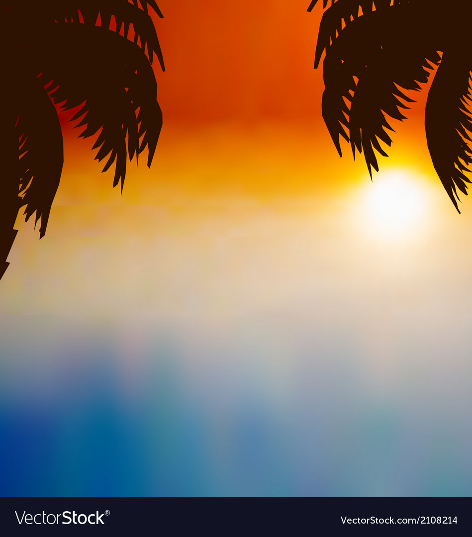 Sunset background with palm trees vector | Price: 1 Credit (USD $1)