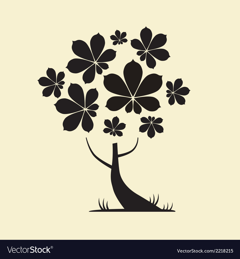 Abstract tree silhouette with chestnut leaves vector | Price: 1 Credit (USD $1)