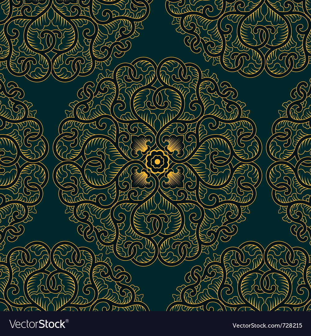 Asia circle pattern in retro style vector | Price: 1 Credit (USD $1)