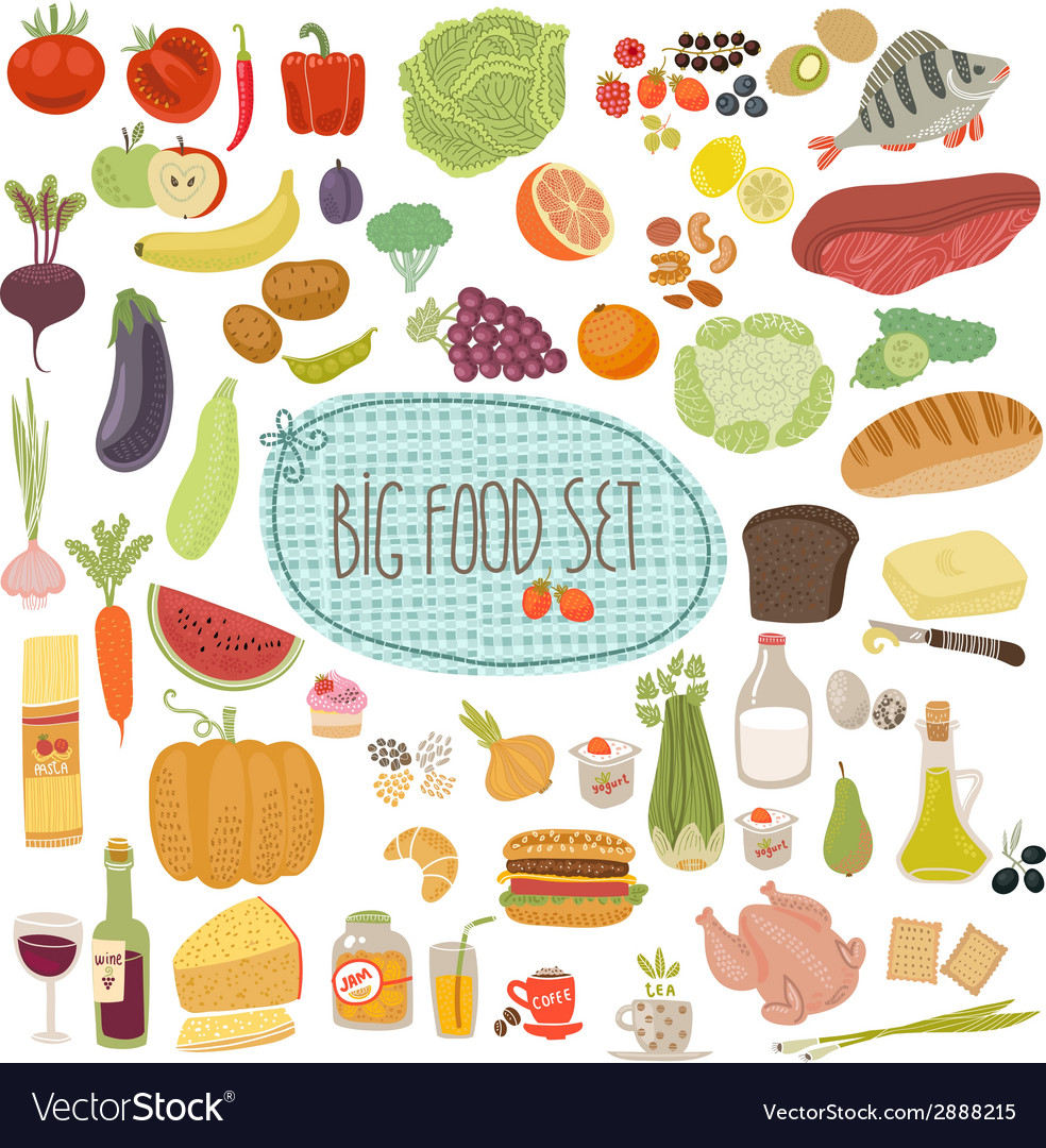 Big food set vector | Price: 1 Credit (USD $1)