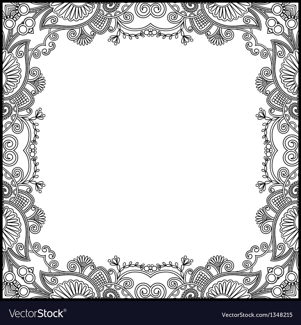 Black and white floral vintage frame vector | Price: 1 Credit (USD $1)