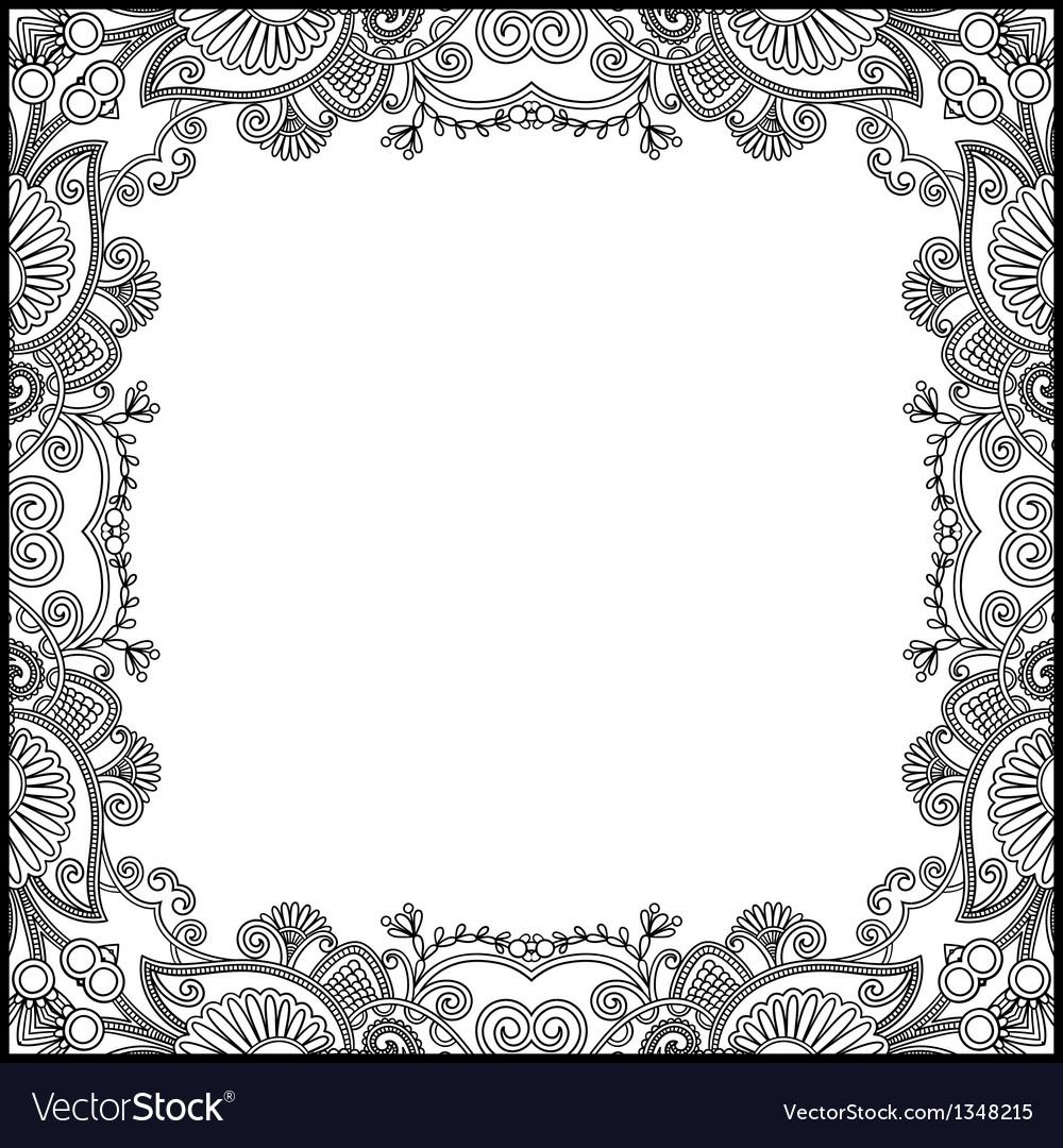 Black and white floral vintage frame vector | Price: 1 Credit (USD $1)