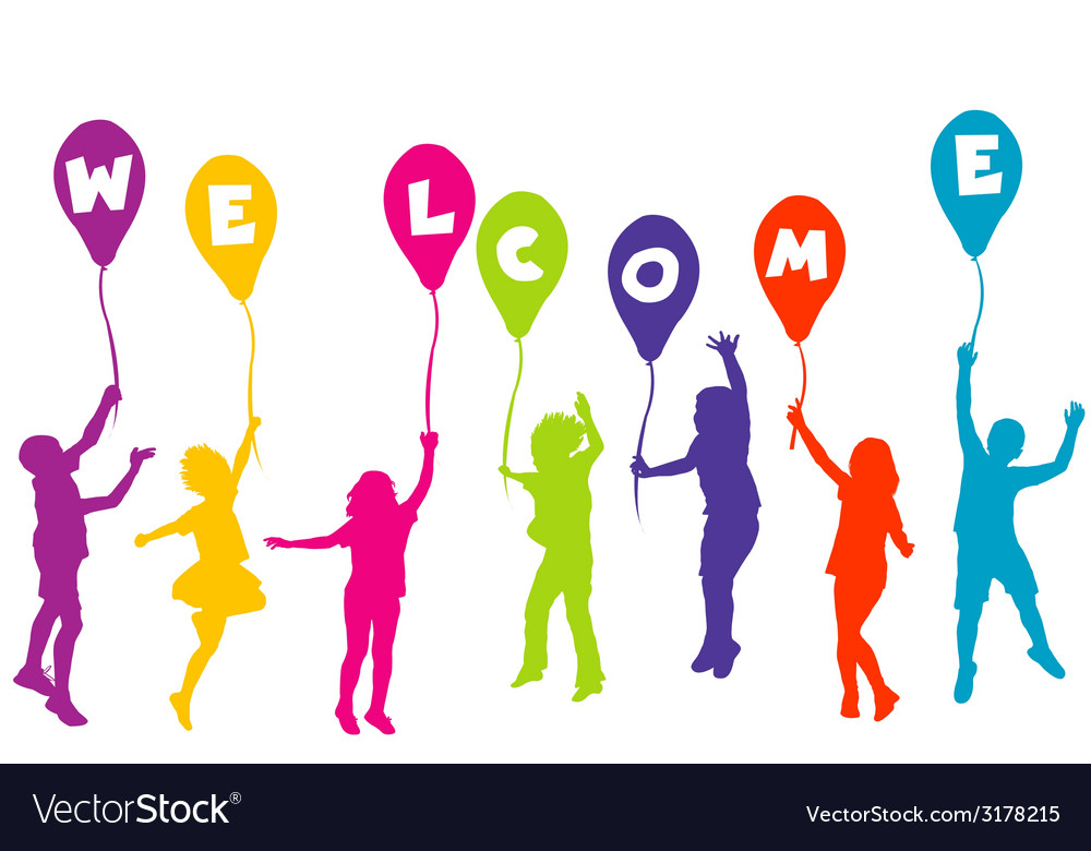 Colored children silhouettes holding balloons with vector | Price: 1 Credit (USD $1)