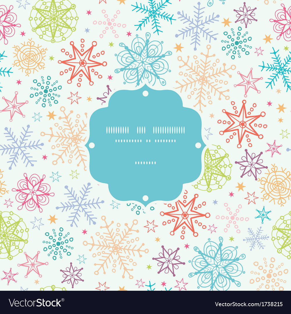 Colorful doodle snowflakes frame seamless pattern vector | Price: 1 Credit (USD $1)