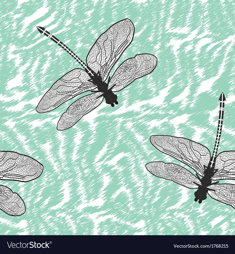 Dragonfly seamless background isolated high qualit vector | Price: 1 Credit (USD $1)
