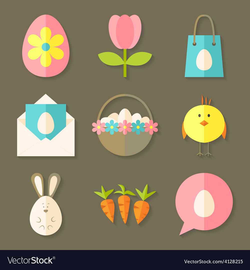 Easter icons set with shadows over brown vector | Price: 1 Credit (USD $1)