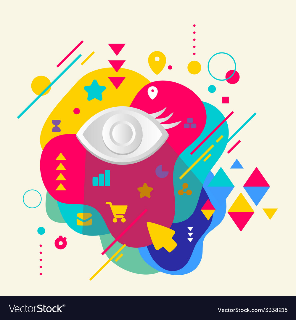 Eye on abstract colorful spotted background with vector | Price: 3 Credit (USD $3)