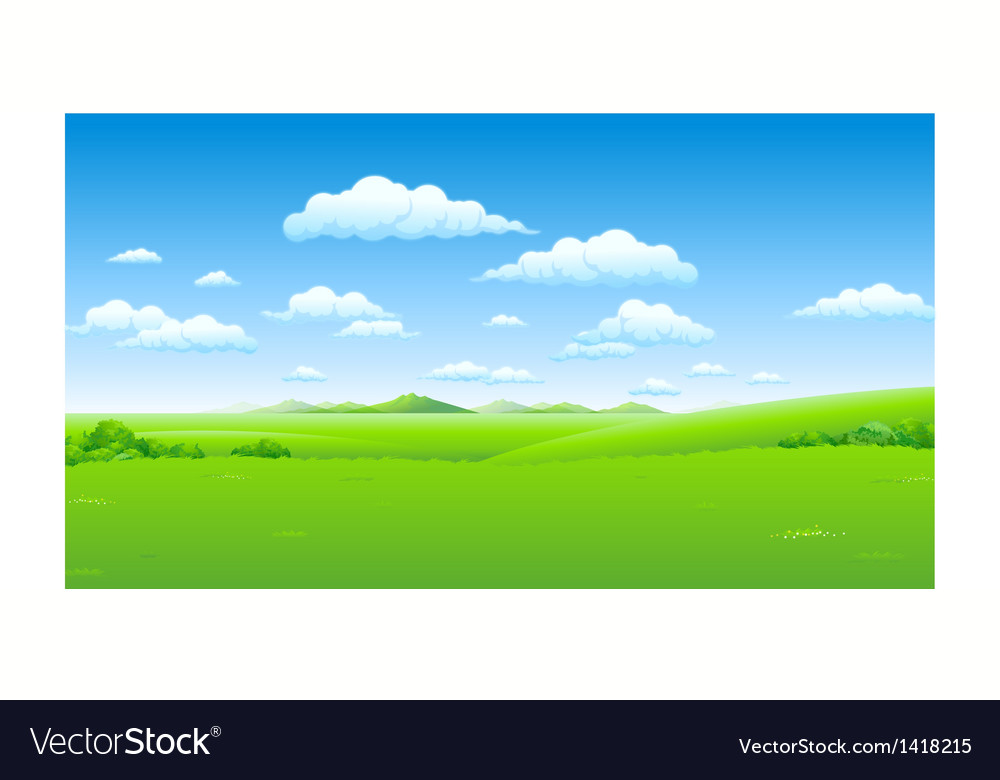 Green landscape blue sky vector | Price: 1 Credit (USD $1)