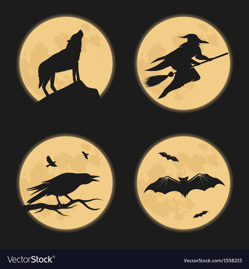Halloween characters moonlight silhouettes vector | Price: 1 Credit (USD $1)
