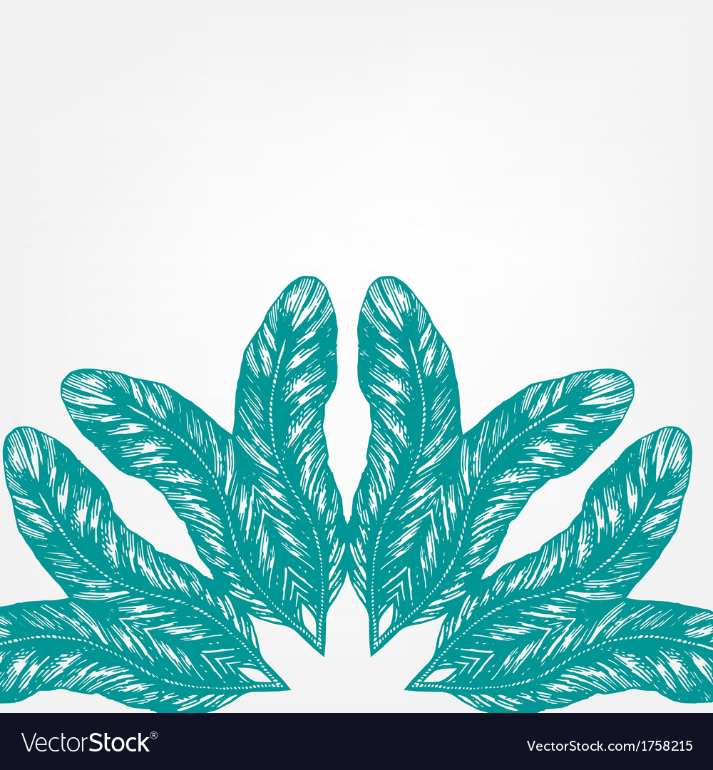 Hand drawn ink style feathers round ornament vector | Price: 1 Credit (USD $1)