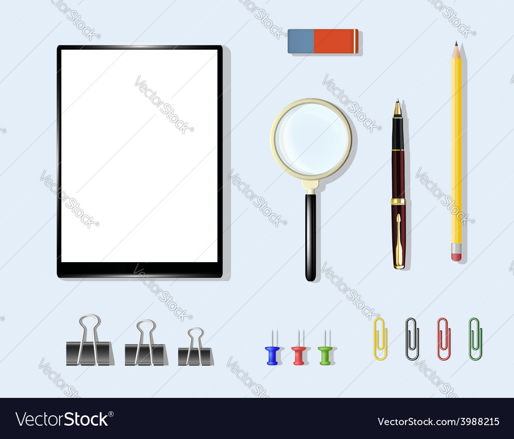 Office supplies on the table vector | Price: 1 Credit (USD $1)