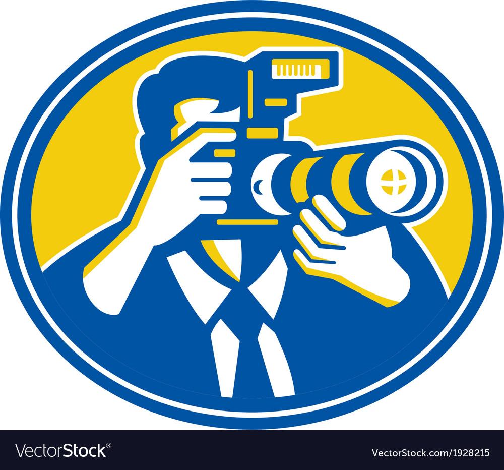 Photographer shooting dslr camera retro vector | Price: 1 Credit (USD $1)