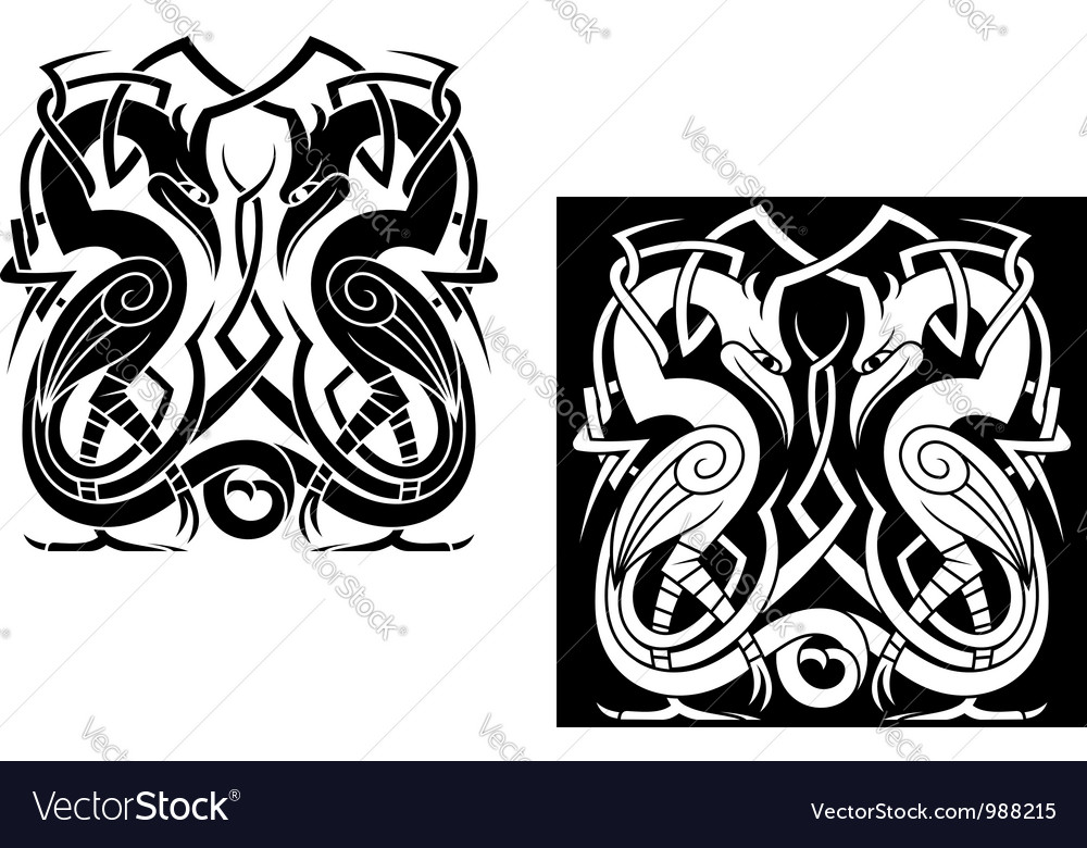 Stork bird with celtic ornament vector | Price: 1 Credit (USD $1)