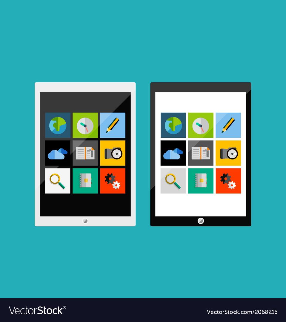 Tablet apps responsive flat ui design vector | Price: 1 Credit (USD $1)