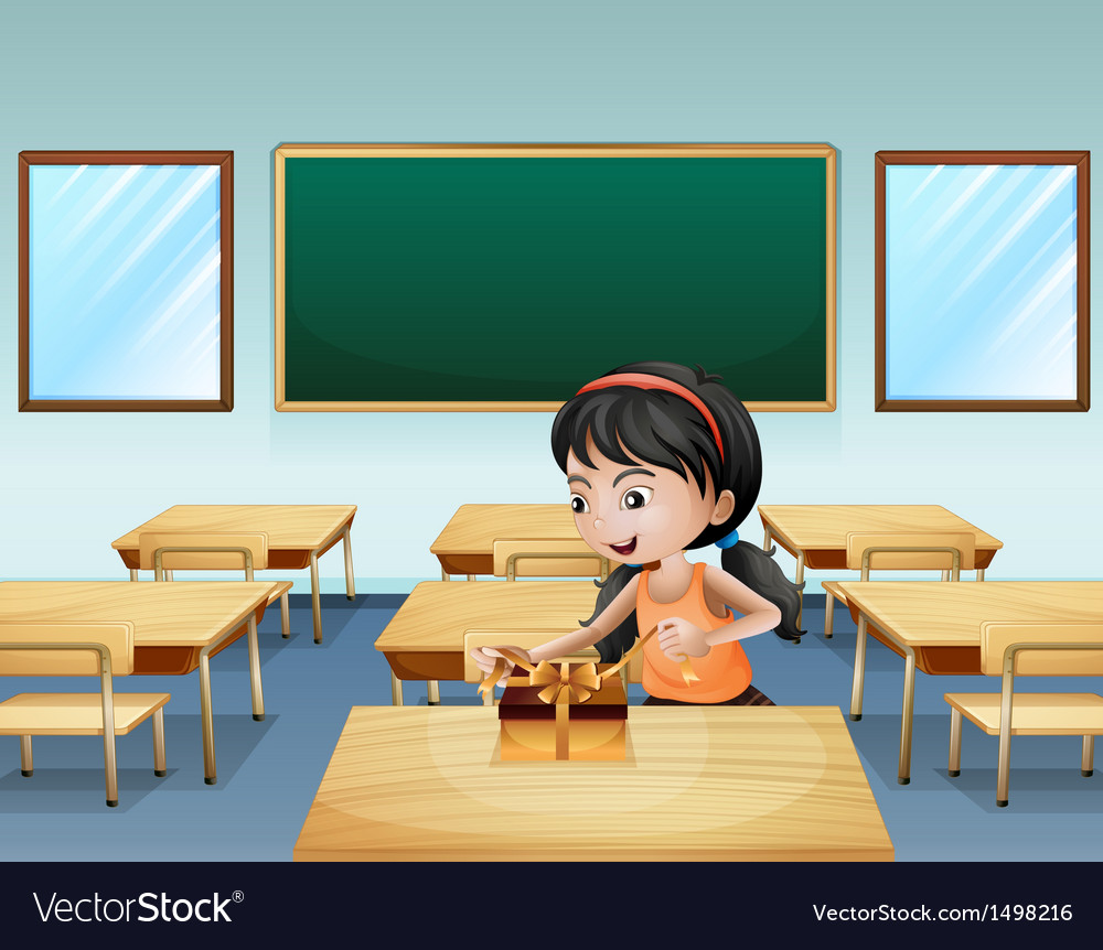 A little girl wrapping a present vector | Price: 1 Credit (USD $1)