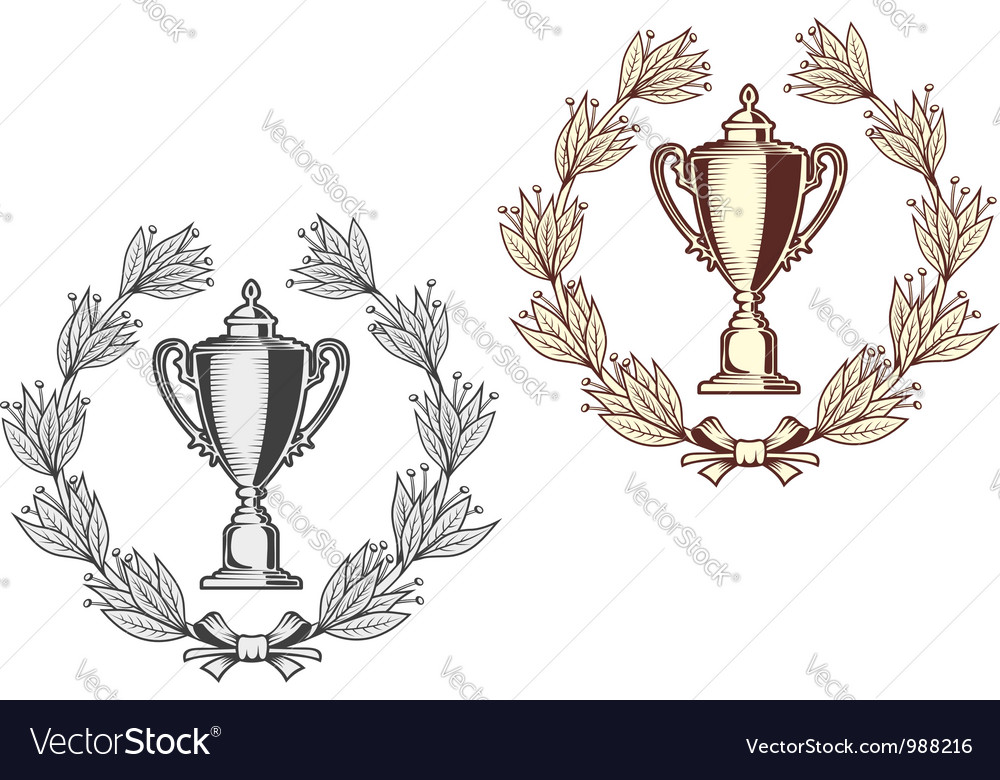 Award bowl with laurel wreath vector | Price: 1 Credit (USD $1)