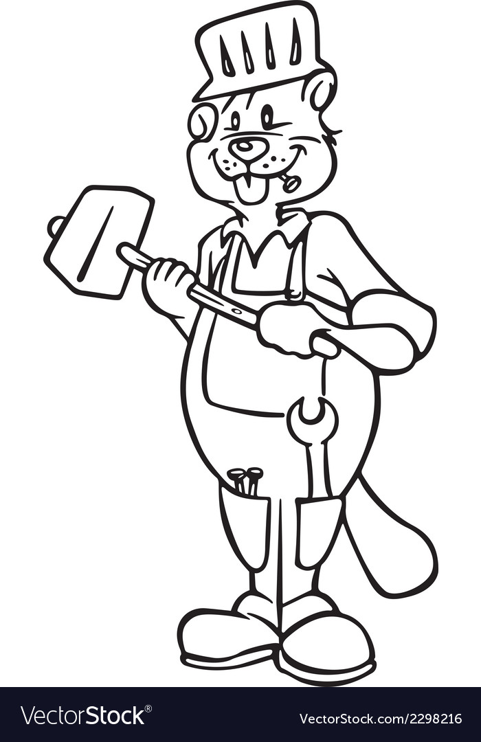 Beaver construction worker outline vector   Price: 1 Credit (USD $1)