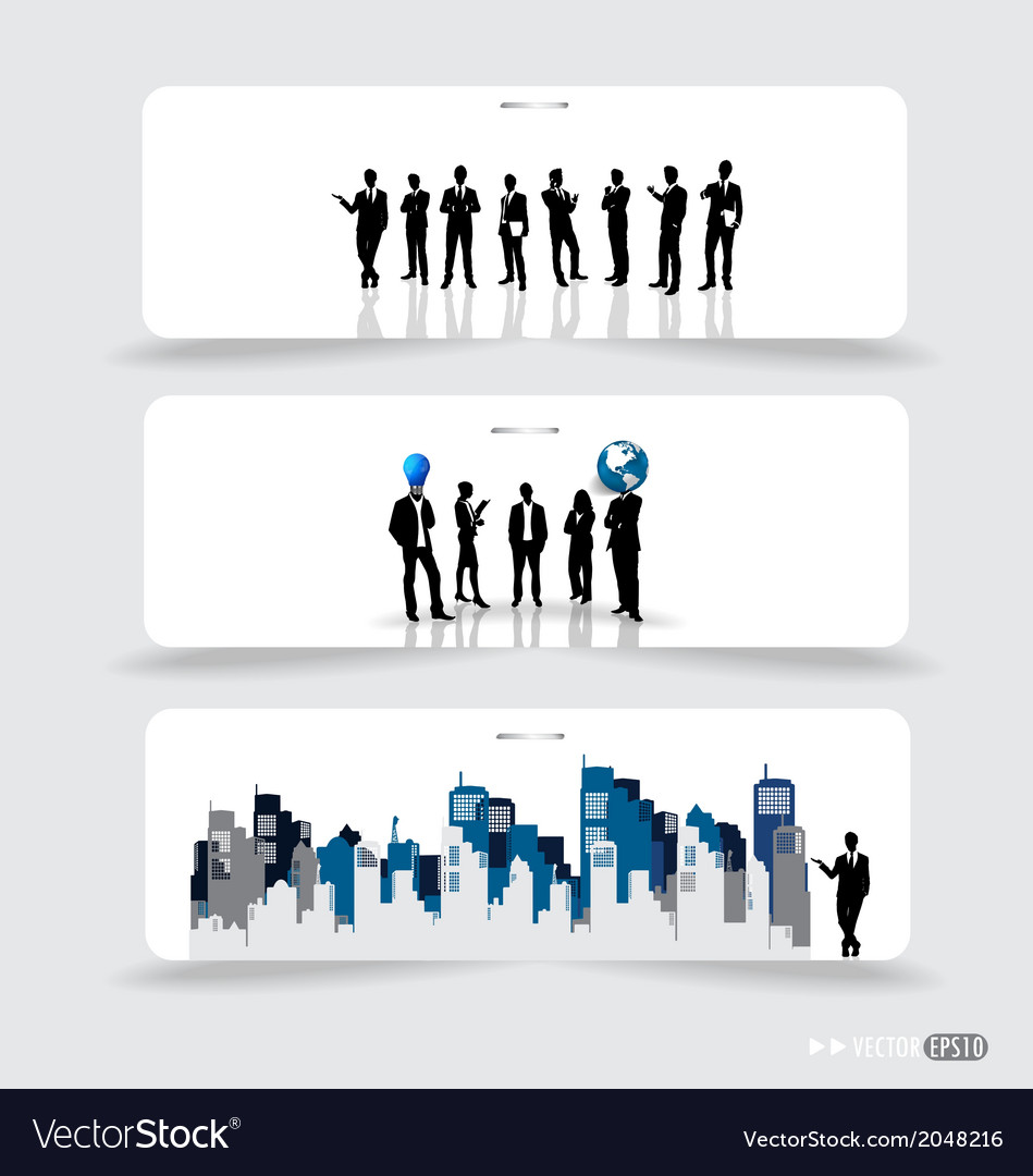 Business people silhouettes on note papers vector | Price: 1 Credit (USD $1)