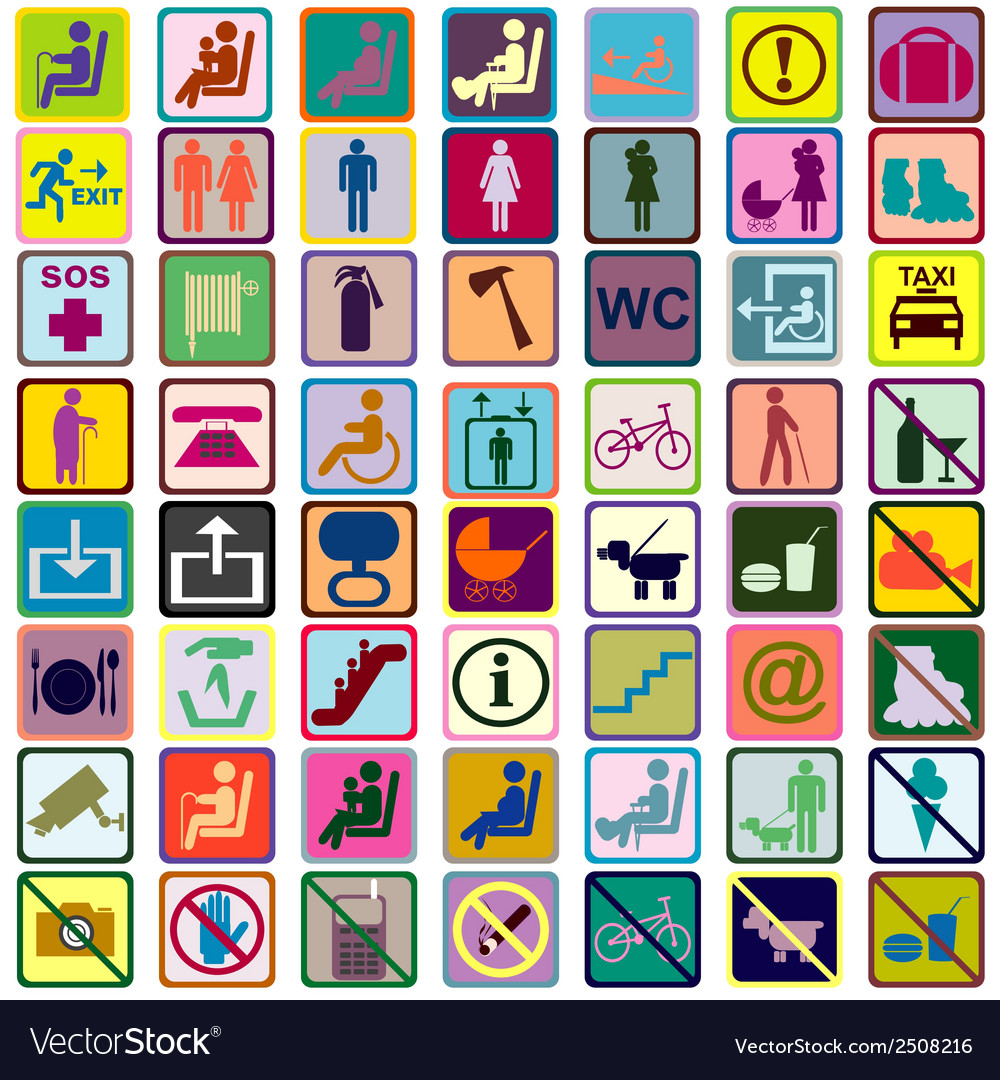 Colored signs icons used in transportation means vector | Price: 1 Credit (USD $1)