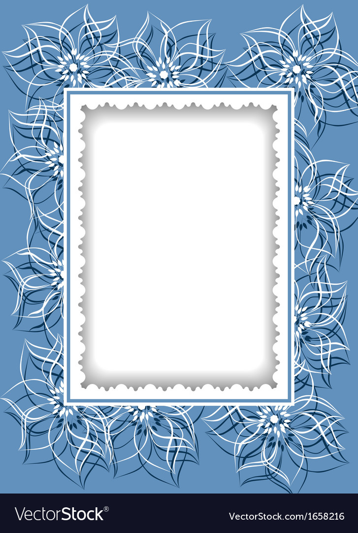 Decorative card with contour flowers vector | Price: 1 Credit (USD $1)