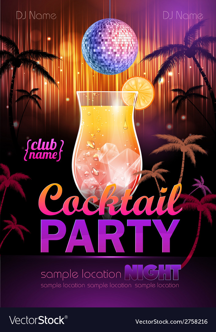 Disco background cocktail party poster vector | Price: 3 Credit (USD $3)